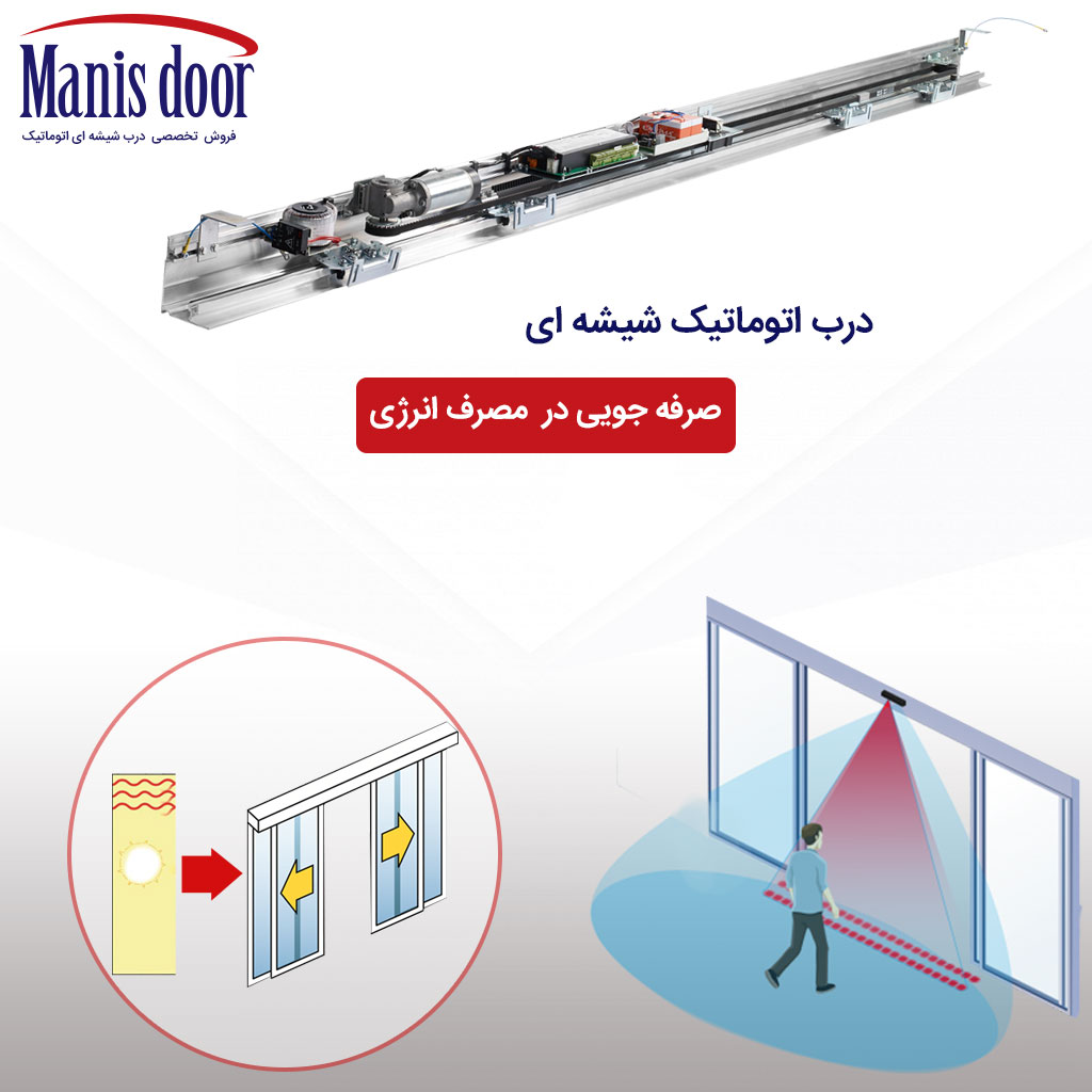 مصرف انرژی درب شیشه ای اتوماتیک